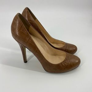 Marc Fisher Brown Snakeskin Print Leather Heel 7.5